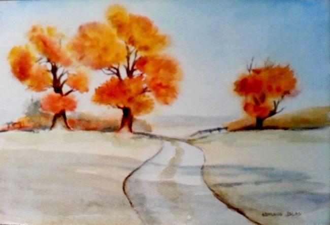 """""""Caminho no Outono"""" pintura a Aguarela de Edmundo Isidro"""