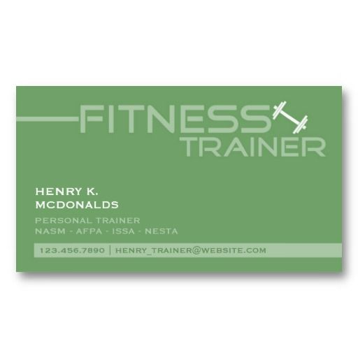Fitness Trainer Business Card Business Cards Pinterest