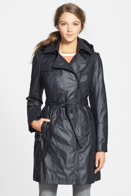 $59, Black Trenchcoat: Vince Camuto Belted Cotton Blend Trench Coat With Detachable Hood. Sold by Nordstrom Rack. Click for more info: https://lookastic.com/women/shop_items/307061/redirect
