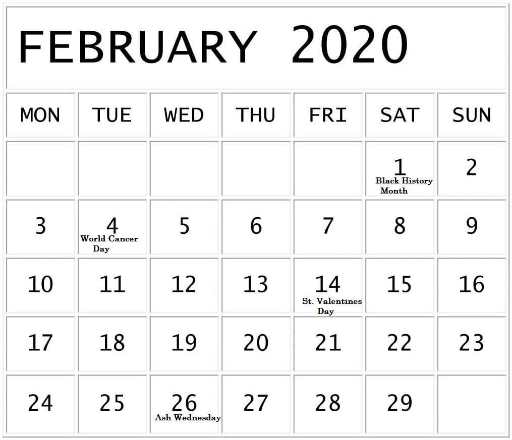 Free February Holidays 2020 Calendar Template In Us Uk Canada