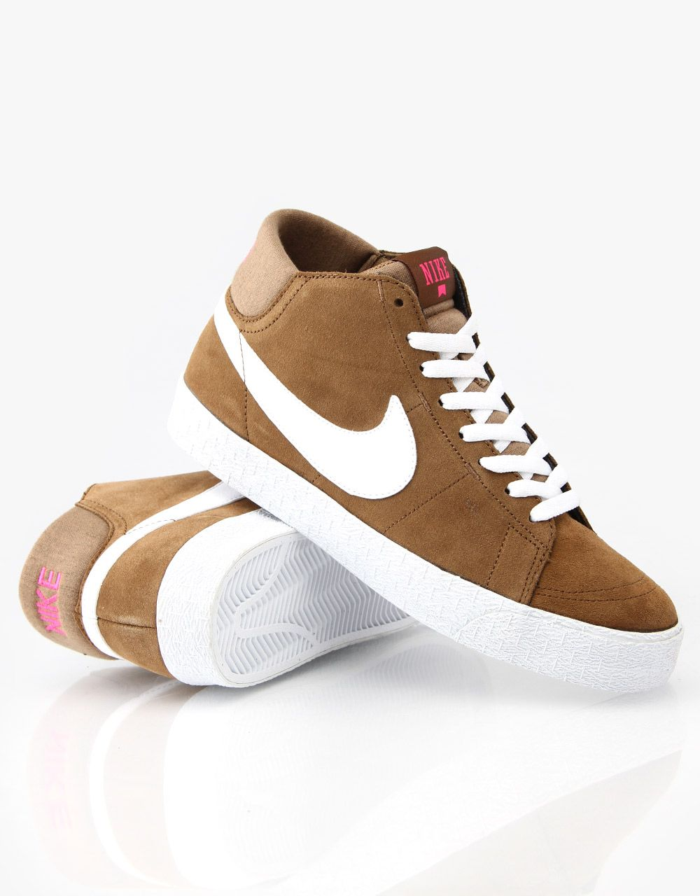 huge selection of 934cd 14c2a Nike SB Blazer Mid LR Skate Shoes - Military BrownWhitePink Foil -  RouteOne.co.uk