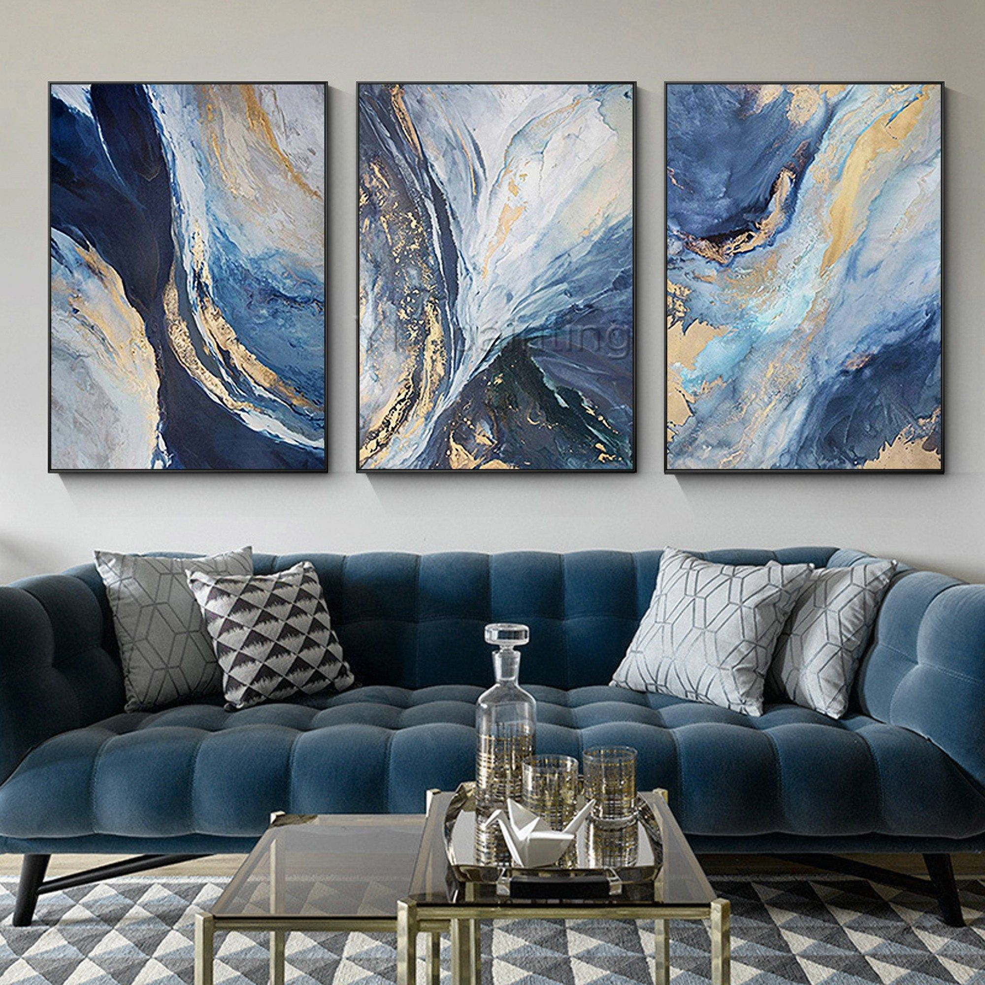 Gold Art 3 Pieces Wall Art Abstract Acrylic Paintings On Canvas Ocean Blue Painting Set Of Blue Living Room Decor Abstract Wall Art Living Room Living Room Art
