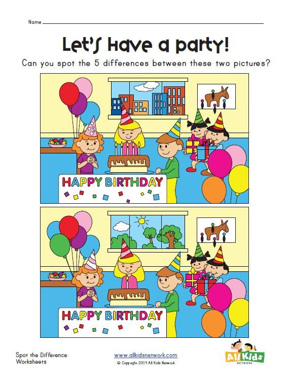 spot the difference party worksheet tot stuff pinterest