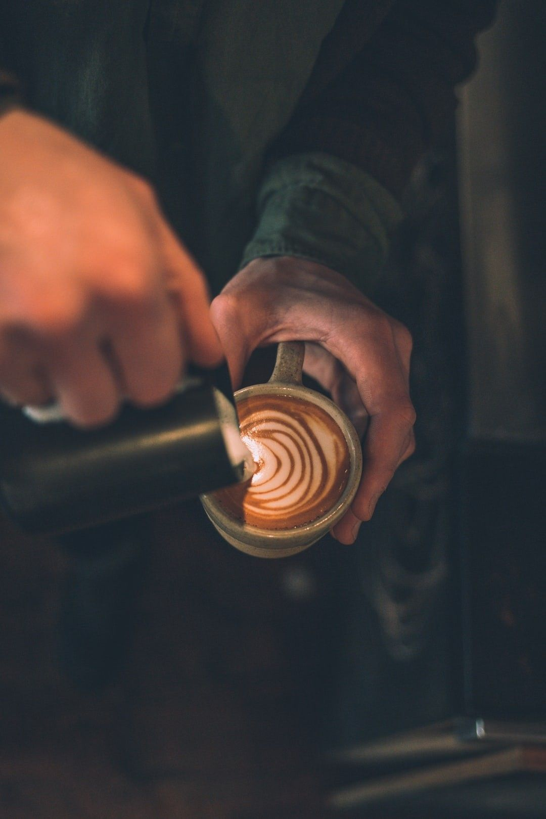Man Pouring Latte Art To Cup Filled With Coffee Hd Wallpaper