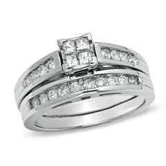 0.50 CT. T.W. Princess-Cut Quad Diamond Bridal Set in 14K White Gold  - Peoples Jewellers