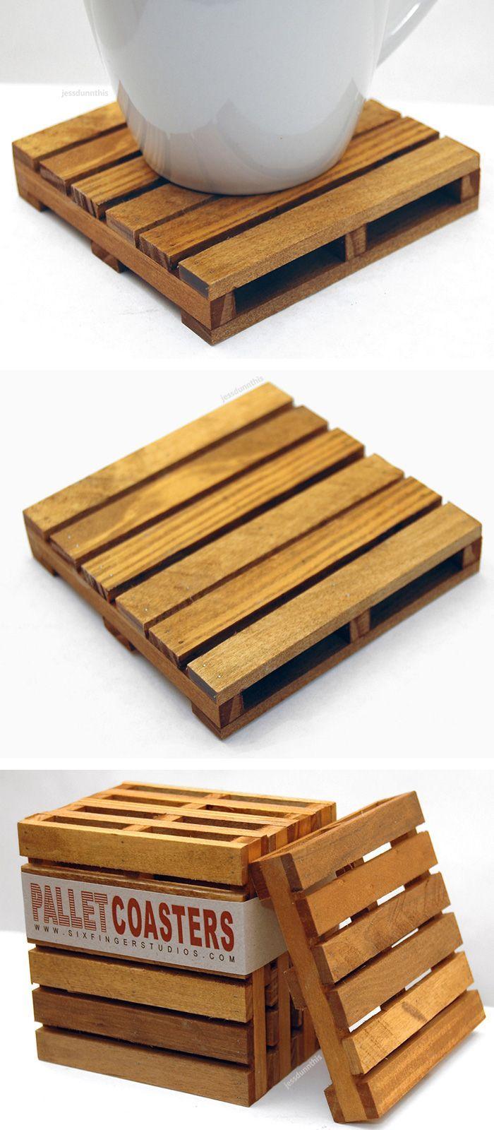 Mini wood pallet coasters - cute! #product_design   Pallet ...