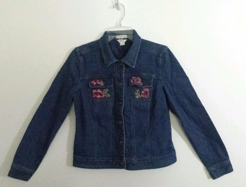 Denim Jean Jacket Womens Size Small Pink Floral Embroidery Christopher & Banks #ChristopherBanks #JeanJacket