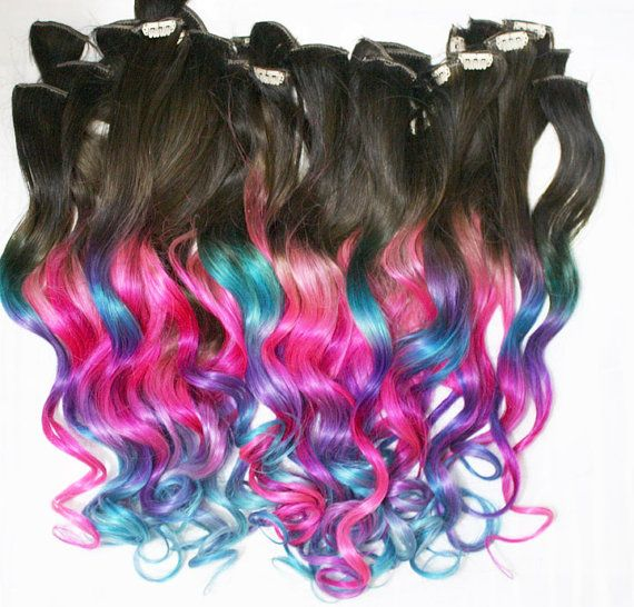 Ombre Dip Dyed Hair Clip In Hair Extensions Tie Dye Tips Brunette