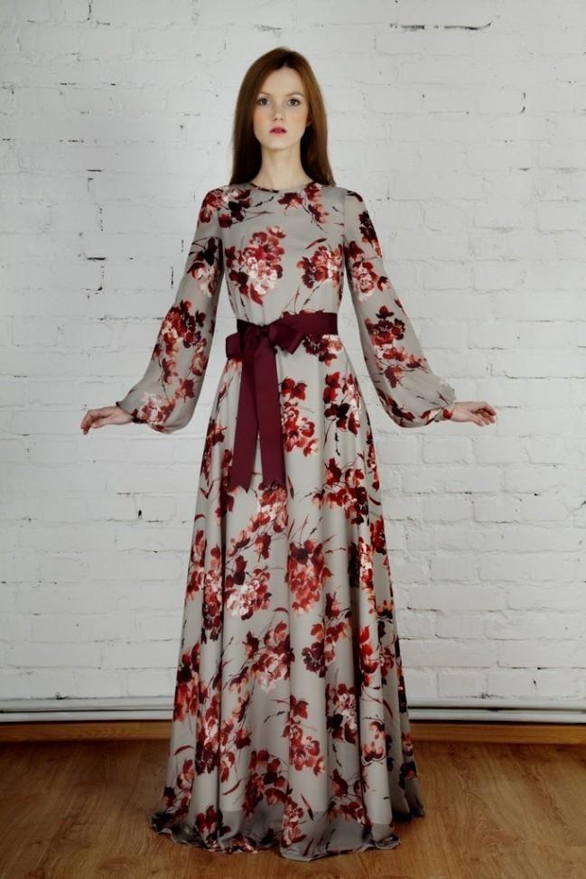 fc1eb90e50a Modest Floral Print Long Sleeve Maxi Dress - Modest floor length ...