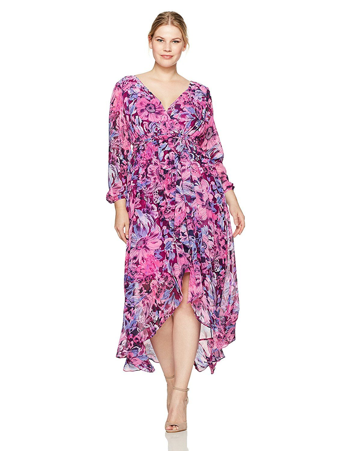 Sangria Women s Plus Size Floral Long Sleeve Maxi Dress at Amazon