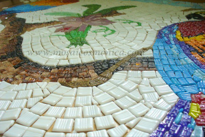 Details Araras- Mosaico em pastilhas de vidro