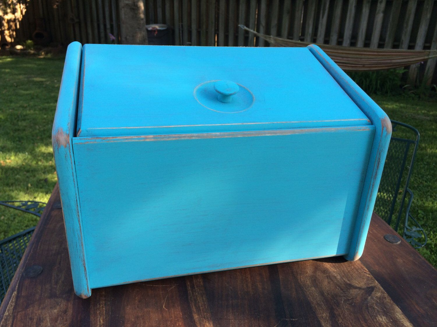 Turquoise Bread Box Wooden Bread Box Hand Painted Bread Box Turquoise Bread Box