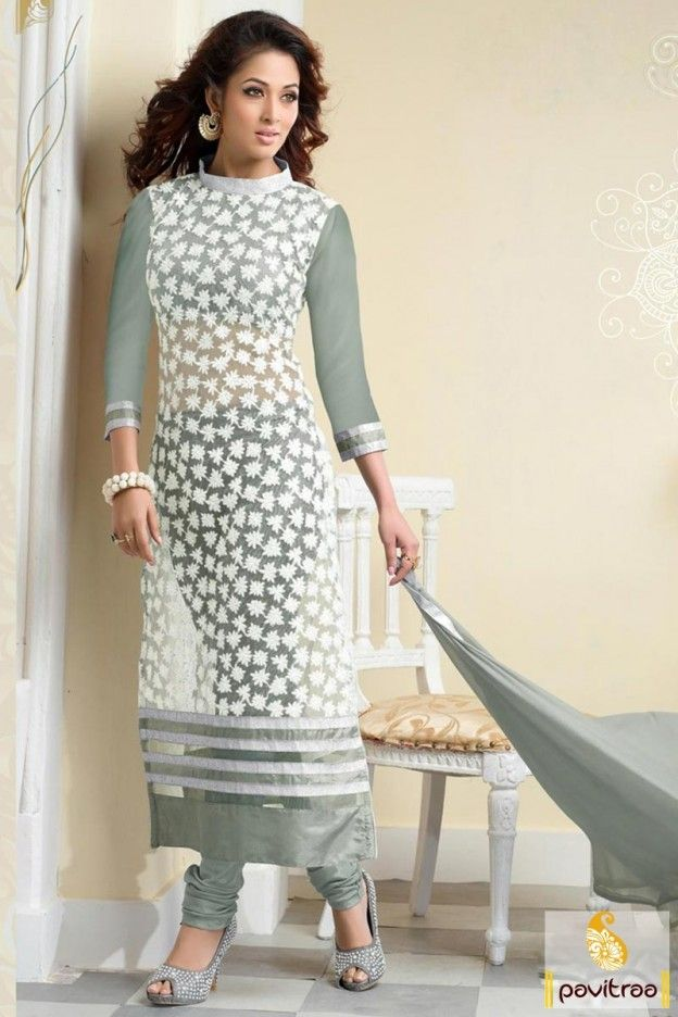 746d57fe570eb Young girls party wear elegant grey white chiffon party wear churidar  salwar kameez online shopping with