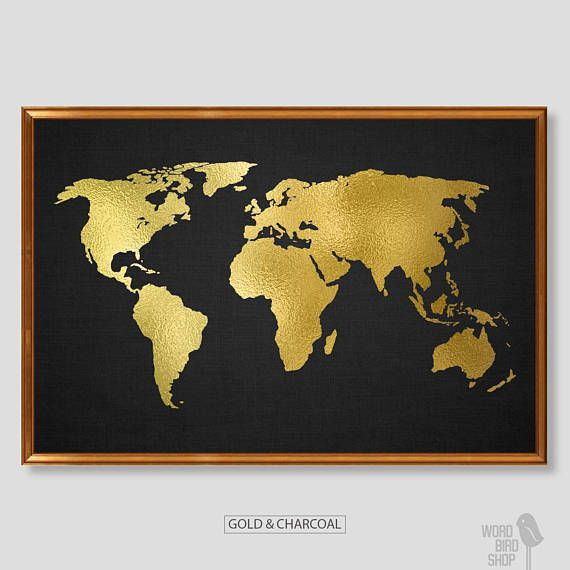 Gold World Map Wall Art.Pin By Diandria Green On My Gold Obsession World Map Painting Map