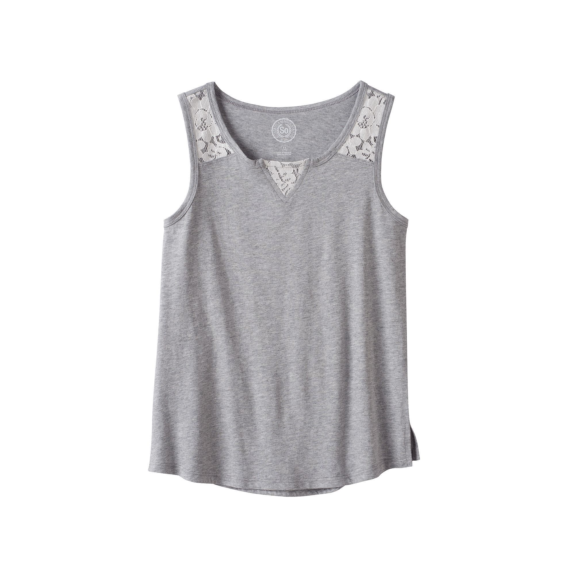 b8bb01ffb1863b Girls 7-16   Plus Size SO® Lace Shoulder Tank Top