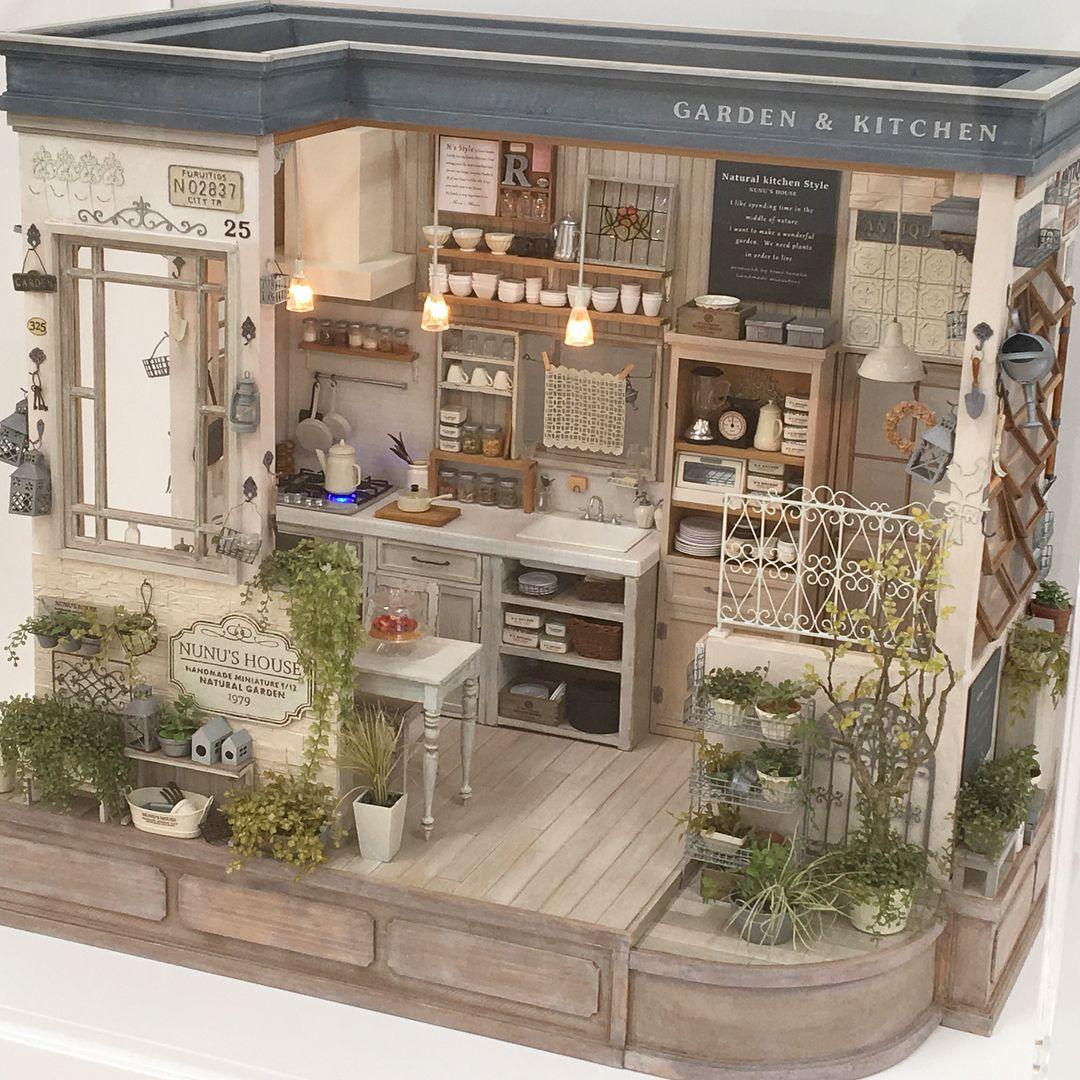 2018. Miniature Garden Kitchen Dollhouse ♡ ♡ By Nunu\'s House In ...