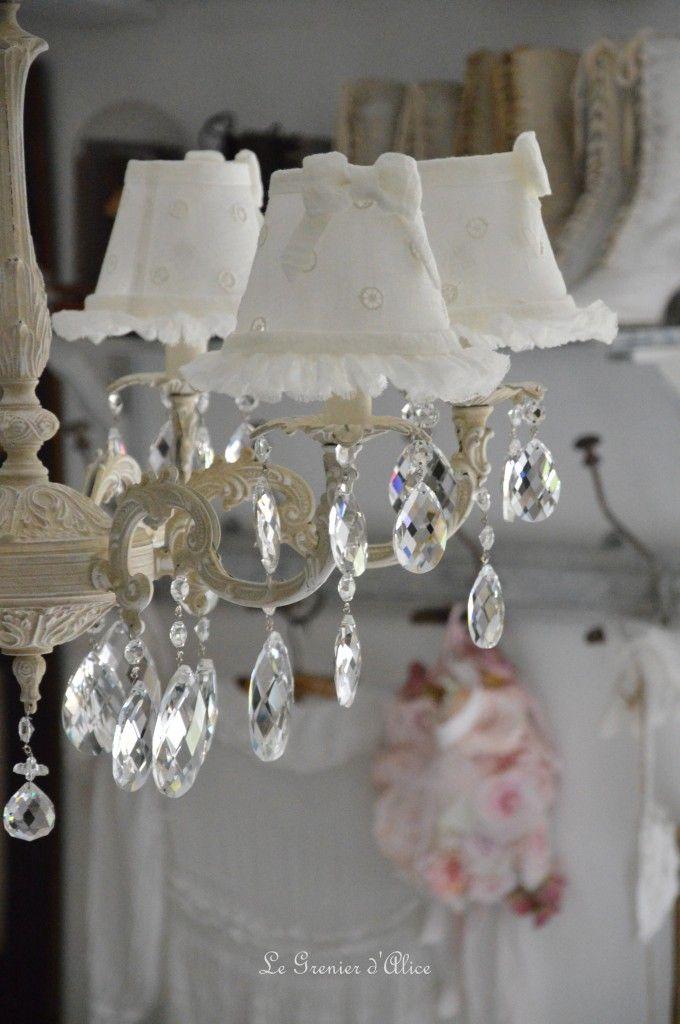 Lustre six branches ancien pampilles patin lustre shabby chic et romantique romantic chandelier - Abat jour ajoure ...