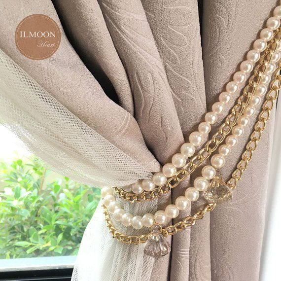 Pair(x2) Crystal And Pearl Curtain Tie Backs / Decorative
