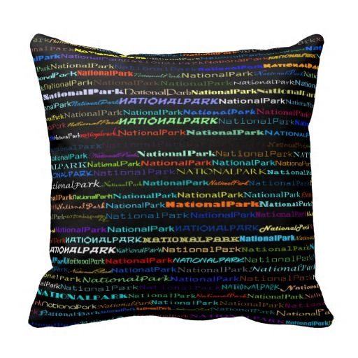 National Park Text Design I Throw Pillow