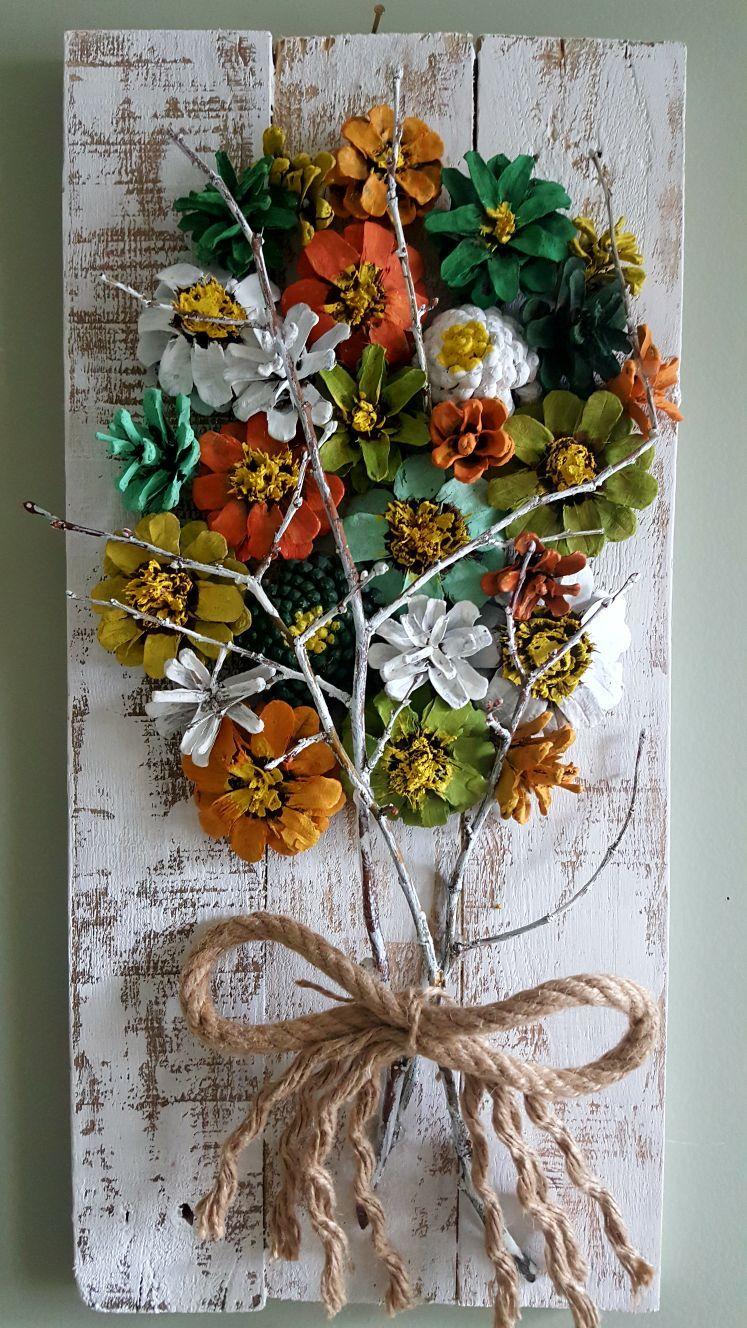 Cuadros De Flores Con Pinas Pinhas Pintadas Artesanato Com Pinhas Decoração Pinha
