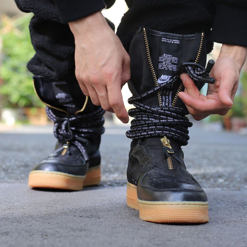 NIKE SF AIR FORCE 1 HI BLACK, GUM & BROWN LIMITED EDITION