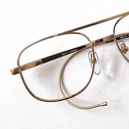 19c68d2188 vintage 80s deadstock gold cable temple eyeglasses square metal double  bridge frame eye glasses retro men unisex fashion eyewear simple old by ...