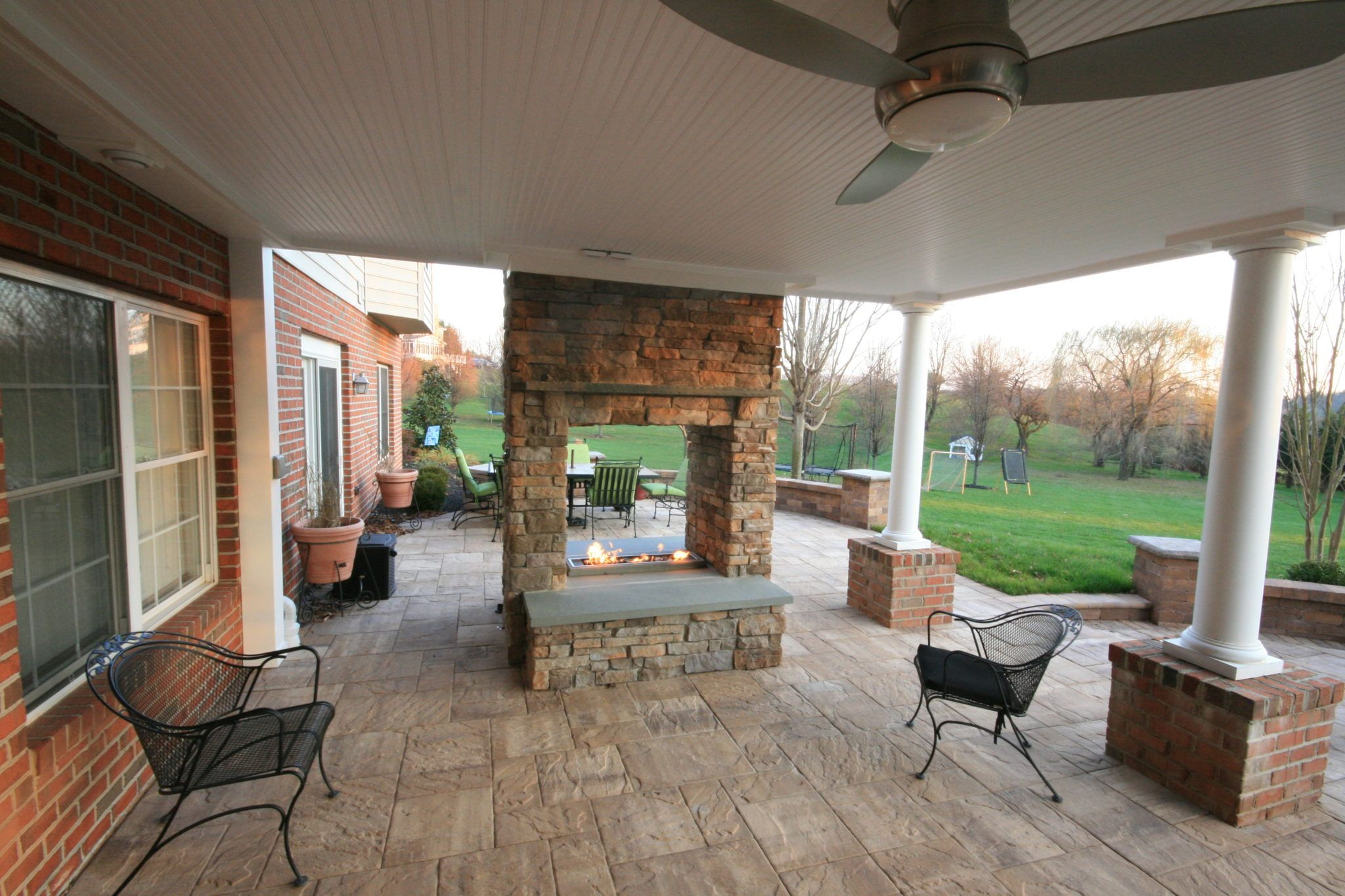 Image result for screened in porch and fireplace under deck
