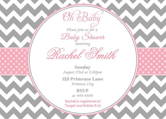 Baby Shower Invitation Backgrounds Free Captivating Pink And Grey Chevron Baby Shower Invitation  Pink Baby Shower .