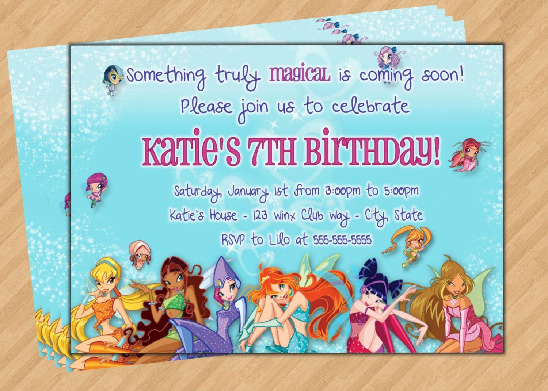 Приглашения винкс на день рождения