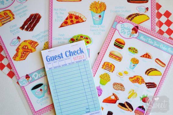 Childs Pretend Play Restaurant Menu Set Pretend Play