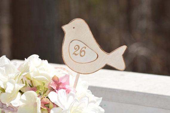 love birds table numbers rustic wedding table by RedHeartCreations