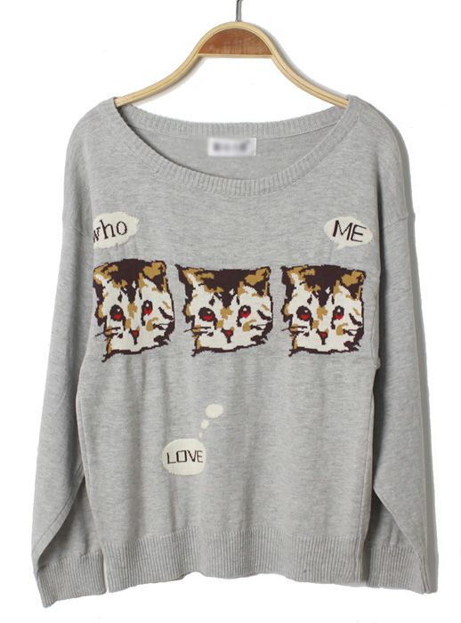 Gray Cat Round-neck Thin Sweater $37! All cross items start at $11, and you can get a free ring if shop over $70 before 4/10!  http://www.udobuy.com/index.php