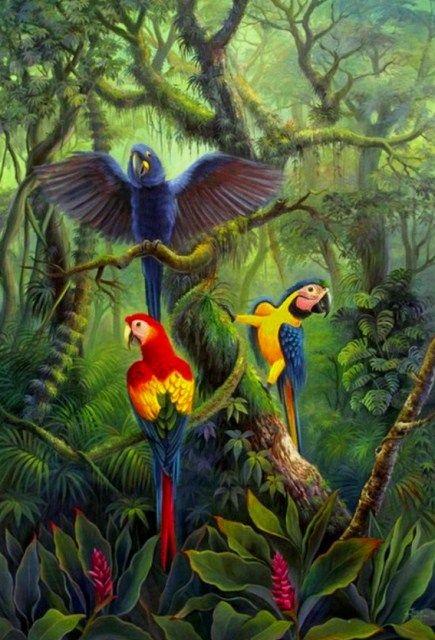 Paisajes con Aves en Óleo Cuadros Bonitos con Paisaje y Aves Paisaje ...