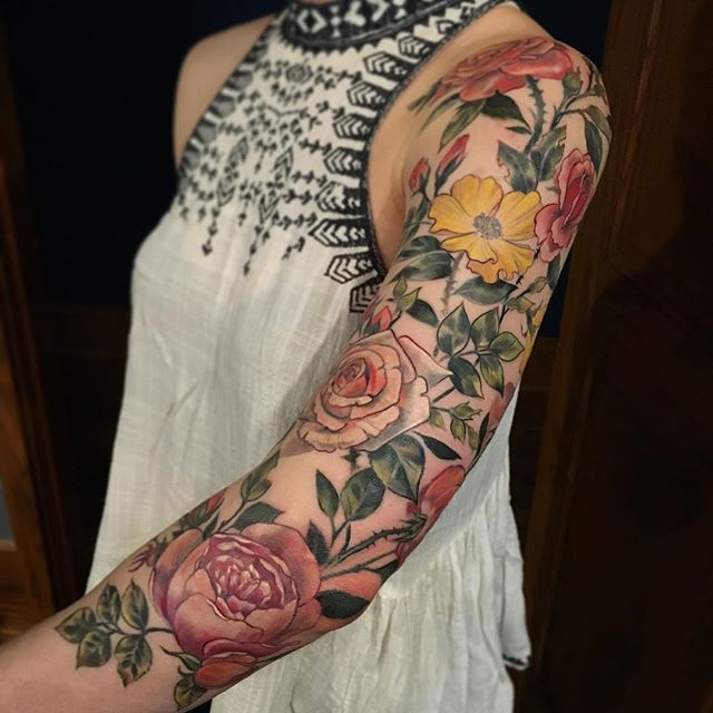 Last Session To Tie Up This Sleeve Flowers Taken From The International Rose Test Garden In Nature Tattoo Sleeve Floral Tattoo Sleeve Sleeve Tattoos For Women