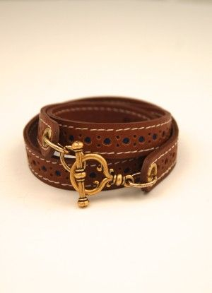 Tan Leather Wrapping Bracelet with Gold Toggle by ExVoto Vintage Jewelry