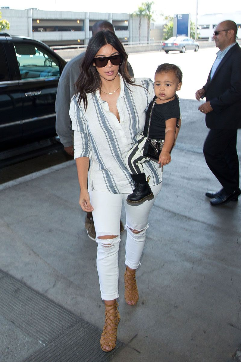 Kim Kardashian and North West at LAX in Los Angeles