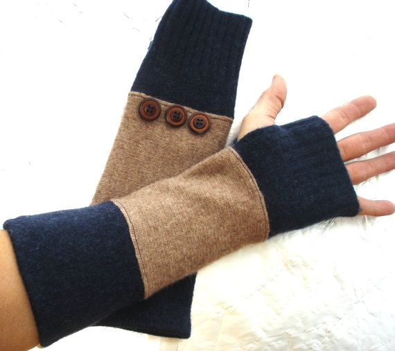 Wool Arm warmers Upcycled fingerless gloves by SewFreshAgain