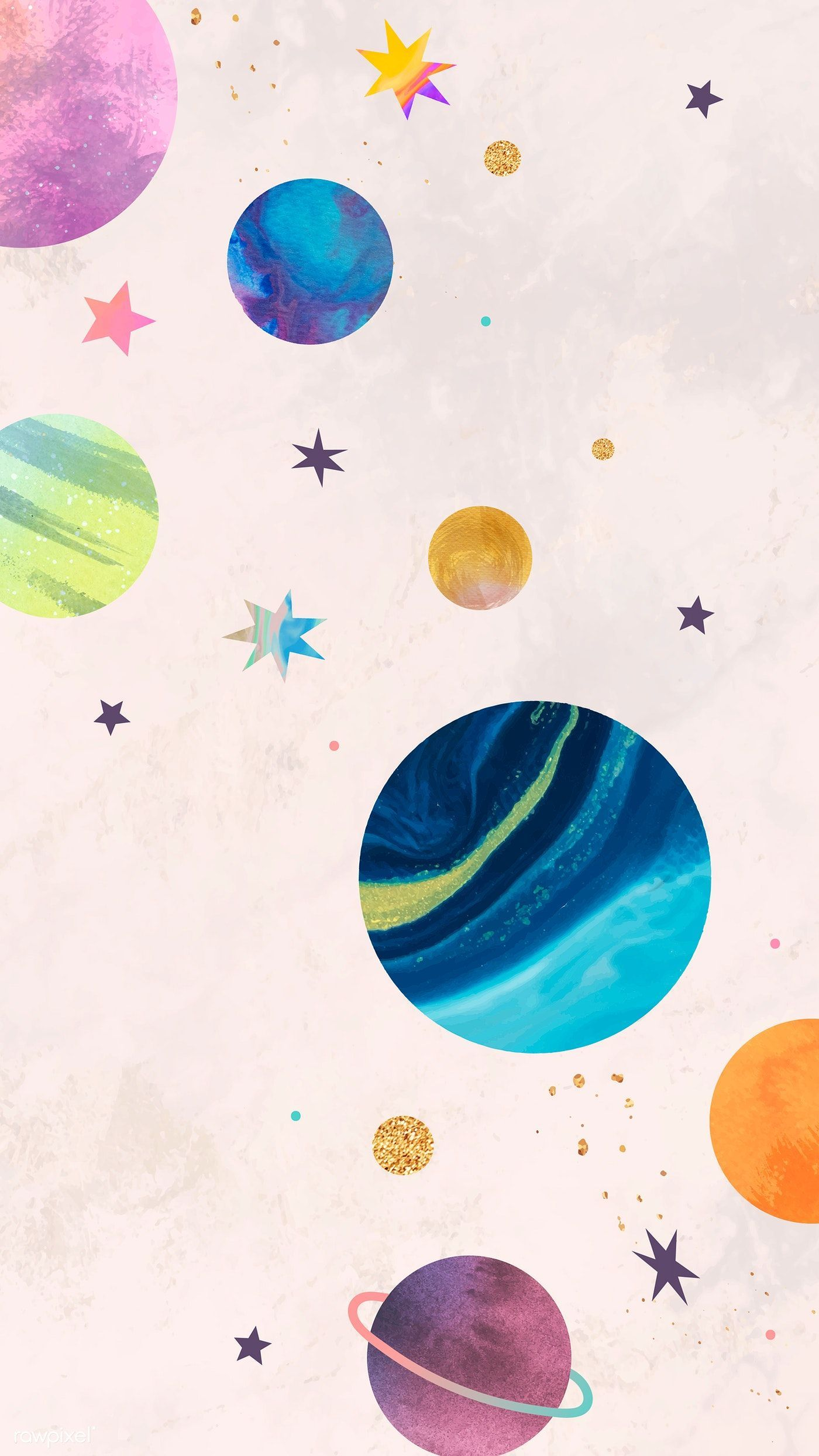 Colorful Galaxy Watercolor Doodle On Pastel Background Mobile Phone Wallpaper Vector Premium Watercolor Wallpaper Iphone Watercolor Galaxy Colorful Wallpaper