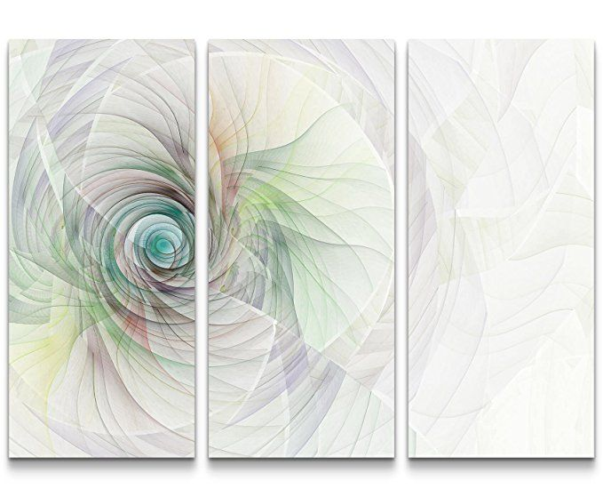Abstraktes Bild \u2013 Spirale aus feinen bunten Linien - 3 teiliges - wohnzimmer bilder abstrakt