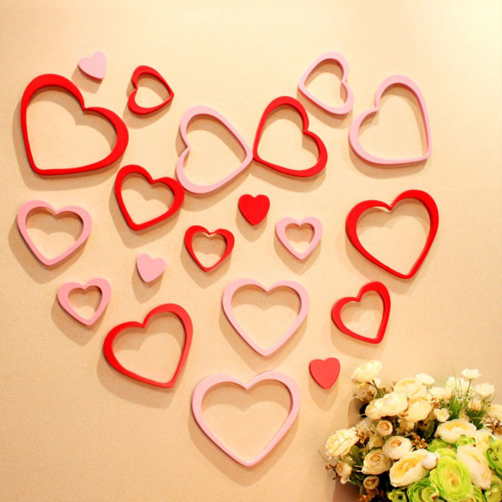 $3.88 - Home Room Diy 3D Heart-Shaped Ring Lovers Creative Wall ...