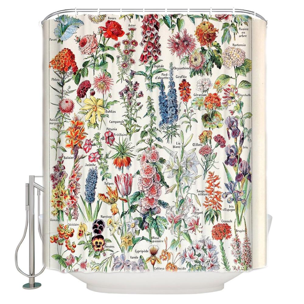 Botanical Shower Curtain Vintage Floral Shower Curtains Etsy