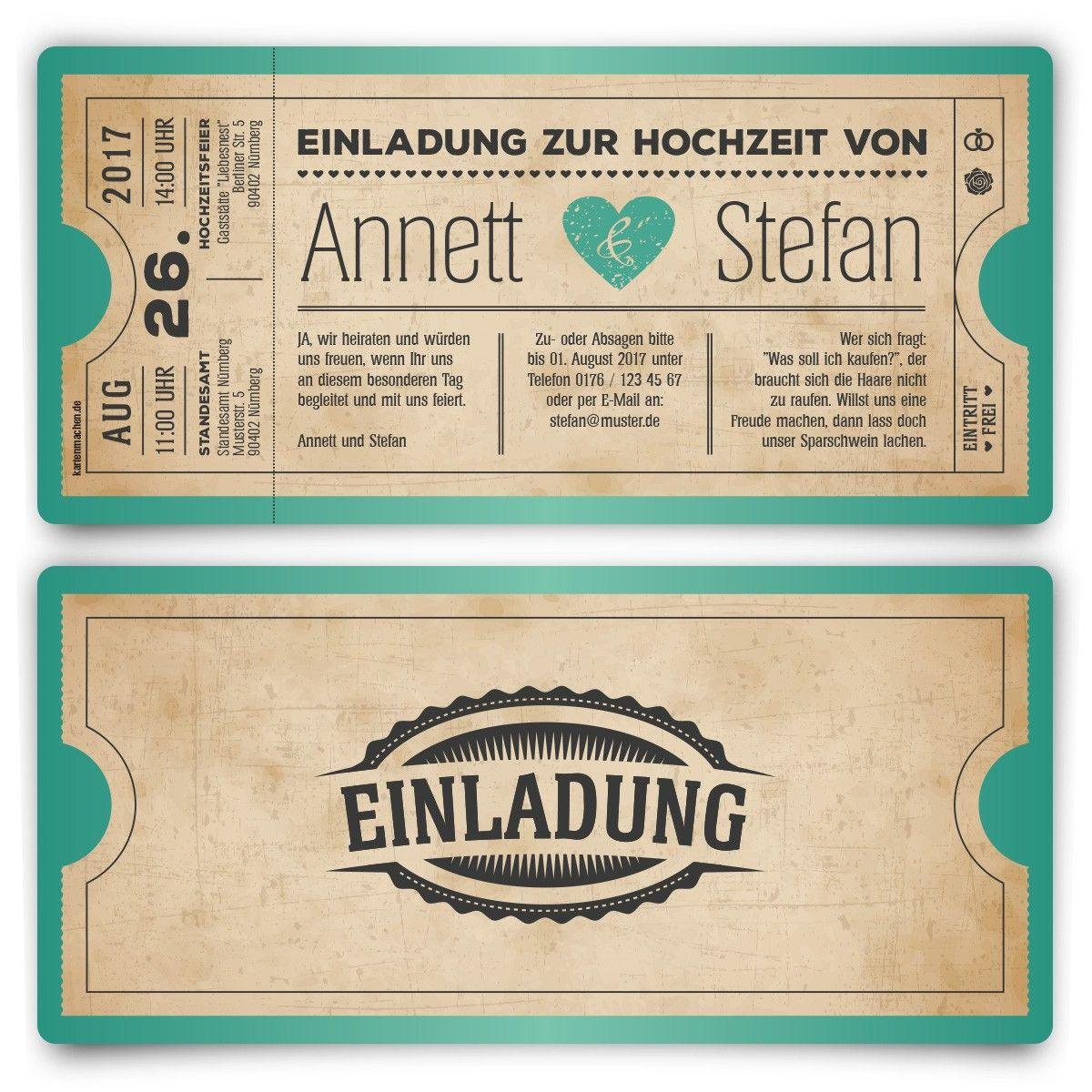 Schön Hochzeitskarten Als Eintrittskarte   Vintage Herz Mintgrün