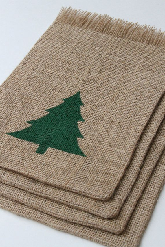 Burlap Gift Bags, Christmas Tree, Shabby Chic Christmas Wrapping ...