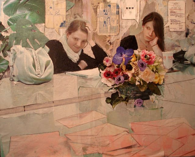 Summer Intern(ment), 2009, Oil and paper collage on canvas : Ann Marshall
