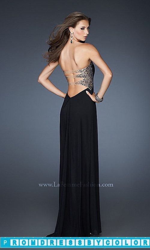 173 Black Prom Dresses – Strapless Open Back Gown by La Femme ...