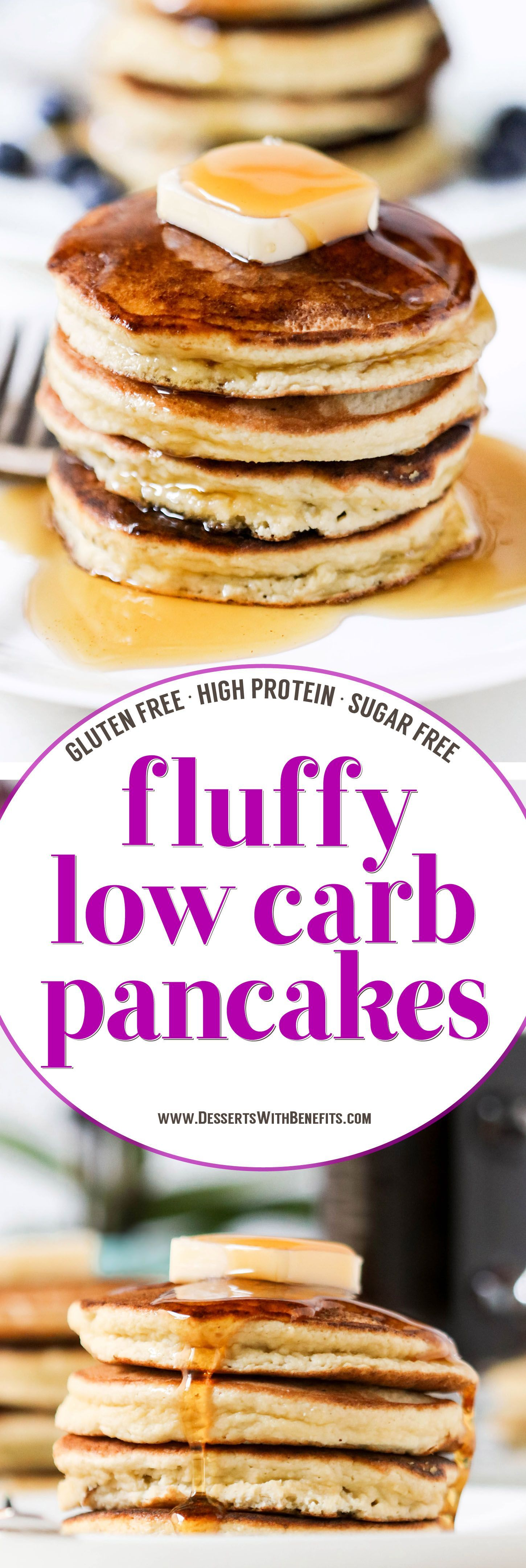 Low Carb Coconut Flour Pancakes These fluffy Low Carb Coconut Flour Pancakes are THE best way to start your day. One bite and you'll wonder how these Paleo Pancakes are sugar free, low carb, high protein, high fiber, gluten free, and dairy free! These filling Low Carb Pancakes have just 220 calories plus 15g of protein and no sugar added. This is a