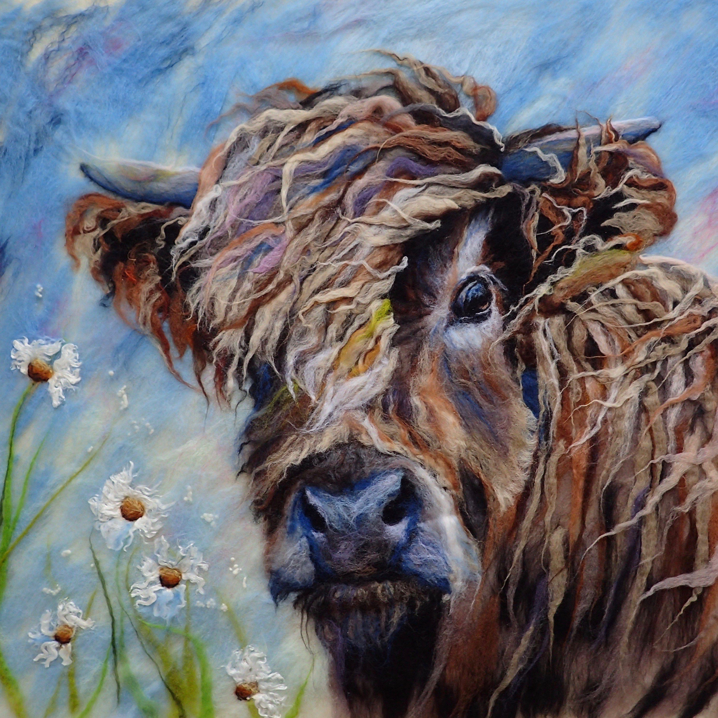 Marmaladerose.co.uk. The original wet-felted wool animal art. 'Before the Storm'. Highland cow made from hand felted wool.