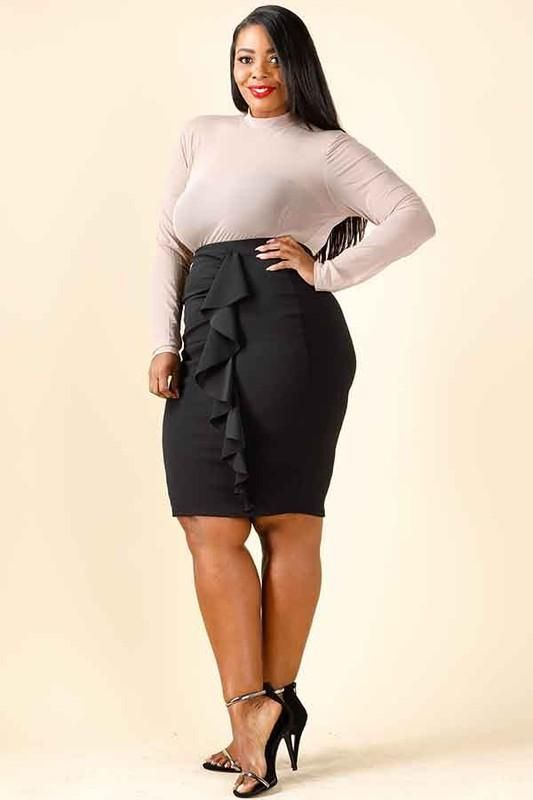 discount for sale enjoy bottom price latest selection of 2019 Plus Size Ruffle Pencil Skirt | Products in 2019 | Black ...