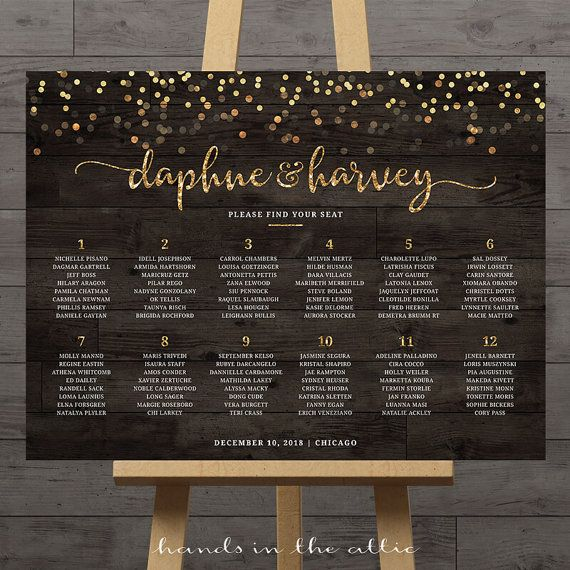 gold confetti wedding seating chart guest list table assignment display poster large reception