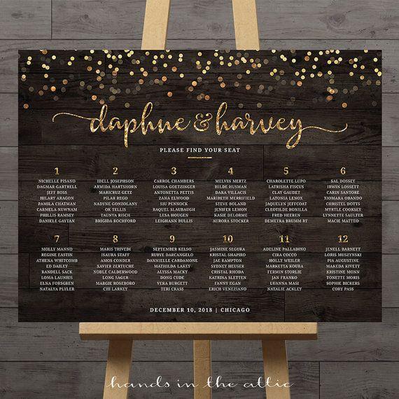 2018 年の gold confetti wedding seating chart guest list table